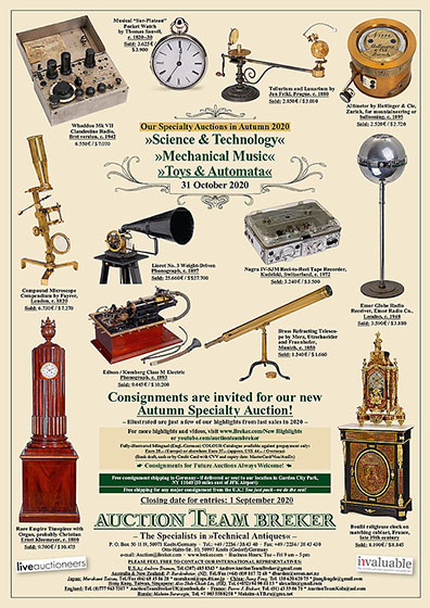 Auction Team Breker Technical Antiques Science Technology Office Antiques Fine Toys Automata Photographica Film Movie Collectables